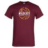 Maroon T Shirt-Basketball In Ball Design