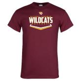 Maroon T Shirt-Baseball Abstract Plate Design