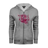 Ladies Grey Fleece Full Zip Hoodie-Wildcat Head
