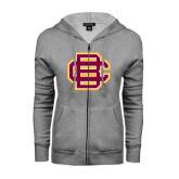 Ladies Grey Fleece Full Zip Hoodie-BC Logo
