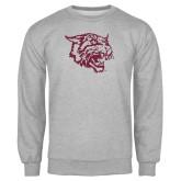 Grey Fleece Crew-Wildcat Head