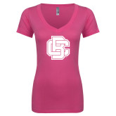 Next Level Ladies Junior Fit Deep V Pink Tee-Primary Mark