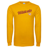 Gold Long Sleeve T Shirt-Wildcats w/Mascot