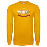 Gold Long Sleeve T Shirt-Baseball Abstract Plate Design