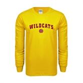 Gold Long Sleeve T Shirt-Wildcats w/BC