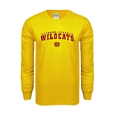 Gold Long Sleeve T Shirt-Arched Bethune-Cookman Wildcats