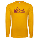 Gold Long Sleeve T Shirt-Wildcats Script