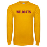 Gold Long Sleeve T Shirt-Bethune Cookman Wildcats Stacked