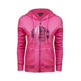 ENZA Ladies Fuchsia Fleece Full Zip Hoodie-BC Foil