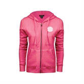 ENZA Ladies Fuchsia Fleece Full Zip Hoodie-BC Logo