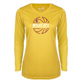 Ladies Syntrel Performance Gold Longsleeve Shirt-Basketball In Ball Design