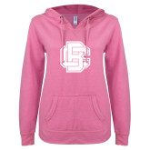 ENZA Ladies Hot Pink V Notch Raw Edge Fleece Hoodie-Primary Mark