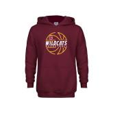 Youth Maroon Fleece Hoodie-Basketball In Ball Design