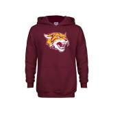 Youth Maroon Fleece Hoodie-Wildcat Head