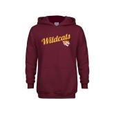 Youth Maroon Fleece Hoodie-Wildcats w/Mascot