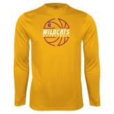 Syntrel Performance Gold Longsleeve Shirt-Basketball In Ball Design