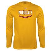 Performance Gold Longsleeve Shirt-Baseball Abstract Plate Design