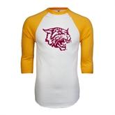 White/Gold Raglan Baseball T-Shirt-Wildcat Head