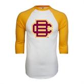 White/Gold Raglan Baseball T-Shirt-BC Logo