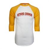 White/Gold Raglan Baseball T-Shirt-Bethune-Cookman University