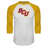 White/Gold Raglan Baseball T Shirt-BCU