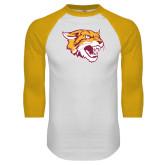 White/Gold Raglan Baseball T Shirt-Wildcat Head