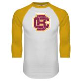 White/Gold Raglan Baseball T Shirt-Primary Mark Distressed