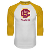 White/Gold Raglan Baseball T Shirt-Alumni
