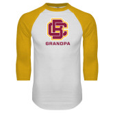 White/Gold Raglan Baseball T Shirt-Grandpa