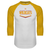 White/Gold Raglan Baseball T Shirt-Baseball Abstract Plate Design