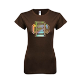 Next Level Ladies SoftStyle Junior Fitted Dark Chocolate Tee-BC Foil