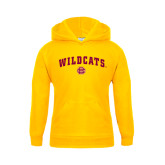 Youth Gold Fleece Hood-Wildcats w/BC