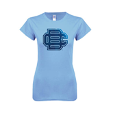 Ladies SoftStyle Junior Fitted Light Blue Tee-BC Foil