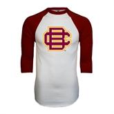 White/Maroon Raglan Baseball T Shirt-BC Logo