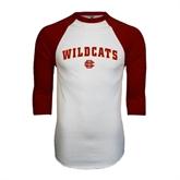 White/Maroon Raglan Baseball T Shirt-Wildcats w/BC