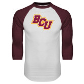 White/Maroon Raglan Baseball T Shirt-BCU