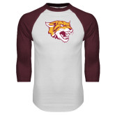 White/Maroon Raglan Baseball T Shirt-Wildcat Head