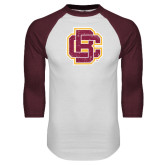 White/Maroon Raglan Baseball T Shirt-Primary Mark Distressed