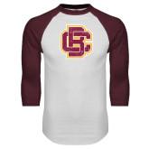 White/Maroon Raglan Baseball T Shirt-Primary Mark Distressed