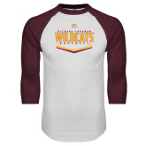 White/Maroon Raglan Baseball T Shirt-Baseball Abstract Plate Design