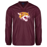 V Neck Maroon Raglan Windshirt-Wildcat Head