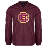 V Neck Maroon Raglan Windshirt-Primary Mark Distressed