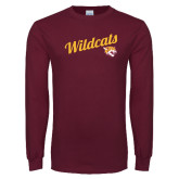 Maroon Long Sleeve T Shirt-Wildcats w/Mascot
