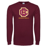 Maroon Long Sleeve T Shirt-Basketball