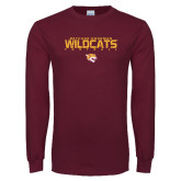 Maroon Long Sleeve T Shirt-Football Yards Design