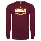 Maroon Long Sleeve T Shirt-Baseball Abstract Plate Design