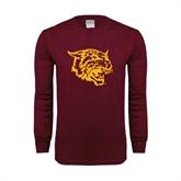 Maroon Long Sleeve T Shirt-Wildcat Head
