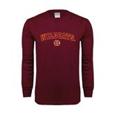 Maroon Long Sleeve T Shirt-Wildcats w/BC