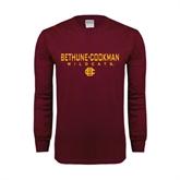 Maroon Long Sleeve T Shirt-Bethune-Cookman Wildcats