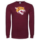Maroon Long Sleeve T Shirt-Wildcat Head